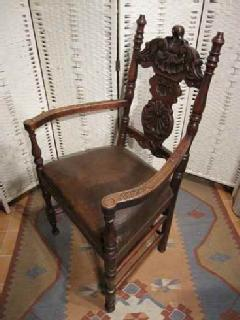 1920French Carved leather chair